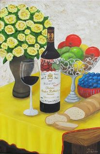 Brot und wein, Malerei, Stillleben, Wein