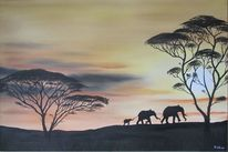 Tiere, Afrika, Familie, Sonnenuntergang