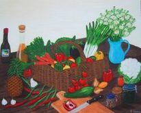 Acrylmalerei, Küche, Gesundes obstkorb, Malerei