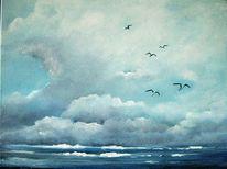 Landschaft, Weite, Wolken, Acrylmalerei