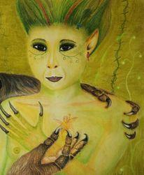 Fantasie, Elfen, Pastellmalerei, Wolf