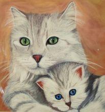 Portrait, Katze, Pastellmalerei, Katzenbaby