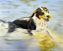 Hund, Spielen, Wasser, Malerei