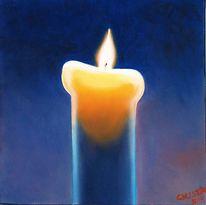 Stillleben, Kerzen, Malerei, Blau