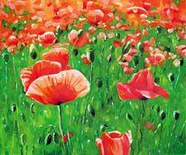 Blumen, Matur, Malerei, Mohnfeld