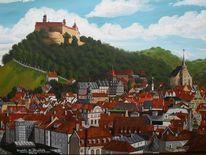 Landschaft, Acrylmalerei, Stadt, Malerei