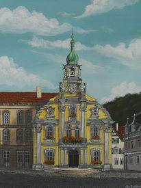 Stadt, Acrylmalerei, Landschaft, Bauwerk