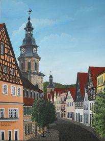 Acrylmalerei, Landschaft, Stadt, Bauwerk