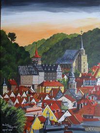 Acryl stadt landschaft, Malerei, Blick, Altstadt