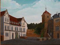 Landschaft, Stadt, Bauwerk, Acrylmalerei
