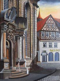 Bauwerk, Stadt, Acrylmalerei, Landschaft