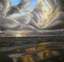 Brandung, Natur, Sonnenaufgang, Acrylmalerei