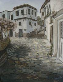Weg, Landschaft, Gemälde, Malerei