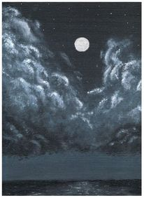 Landschaft, Mond, Malerei, Acrylmalerei