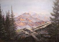 Sonnenaufgang, Landschaftsmalerei, Sicht, Berge
