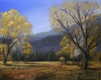 Gold, Landschaftsmalerei, Wald, Herbst