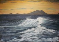 Wasser, Acrylmalerei, Sonne, Sonnenaufgang
