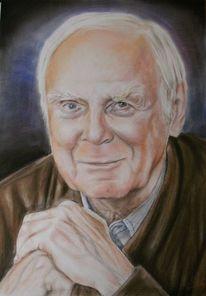 Loriot, Portrait, Menschen, Pastellmalerei