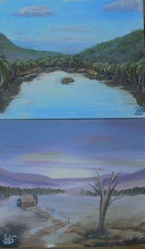 Malerei, Landschaft, See, Acrylmalerei