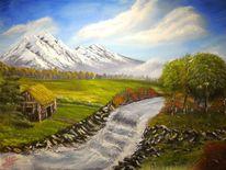 Berge, Landschaft, Natur, Acrylmalerei