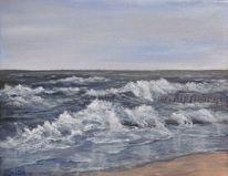 Spiegelung, Welle, Acrylmalerei, Farben