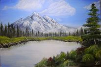 Berge, Landschaft, See, Acrylmalerei