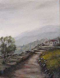 Wolken, Landschaftsmalerei, Berge, Acrylmalerei