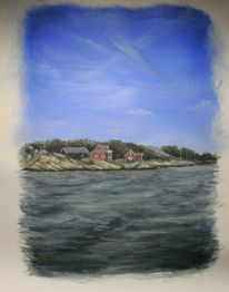 Acrylmalerei, Landschaft, Schweden, Boot