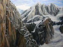 Landschaft, Schnee, Malerei, Berge