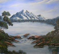 Gemälde, Wasser, Berge, Landschaft