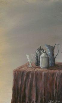 Spiegelung, Malerei, Stille, Flasche