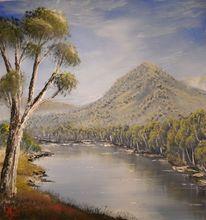 Teich, Acrylmalerei, Wasser, Berge