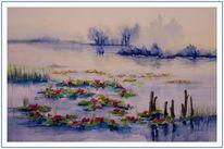 Teich seerosen, Aquarell, Landschaften