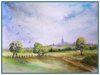 Outdoor aquarell sommerlich, Aquarell, Blick
