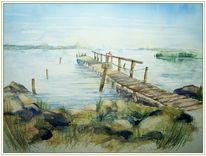 Usedom, Strand, Aquarellmalerei, Steg