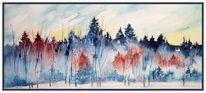 Landschaft, Schnee, Nebel, Blau