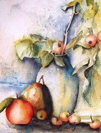 Zweig, Aquarellmalerei, Früchte, Herbst