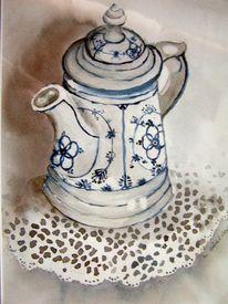 Tee, Friesisch, Porzellan, Weiß