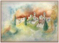 Herbst, Farben, Toskana, Aquarellmalerei