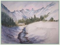 Winter, Bach, Engadin, Schnee
