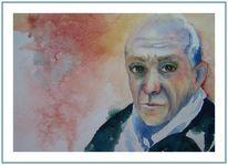 Portrait männlich picasso, Aquarell, Portrait