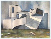 Architektur, Aquarellmalerei, Museum, Schatten