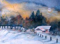 Winter, Wald, Haus, Nacht