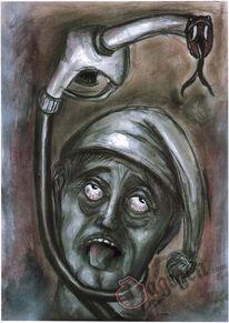 Zapfhahn, Karikatur, Benzin, Ölmalerei