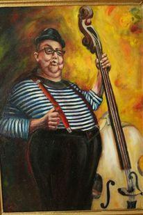Cello, Clown, Kopf, Hosenträger