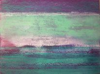 Grün, Ferne, Pastellmalerei, Horizont