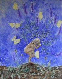 Sommer, Schmetterling, Lavendel, Malerei