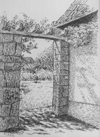 Mauer, Tor, Garten, Zeichnungen