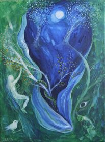 Schlange, Mond, Frau, Malerei