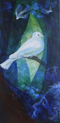 Vogel, Taube, Malerei, Tiere